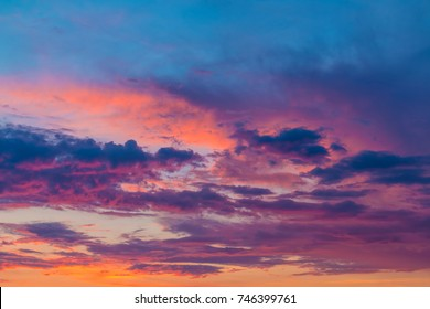 Beautiful cloudscape with colorful contrasting clouds at sunset