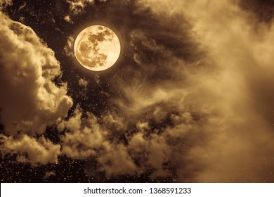 Beautiful cloudscape with many stars. Night sky with full moon and cloudy, serenity nature background. Outdoor at nighttime with moonlight. Vintage and sepia tone. The moon taken with my camera.