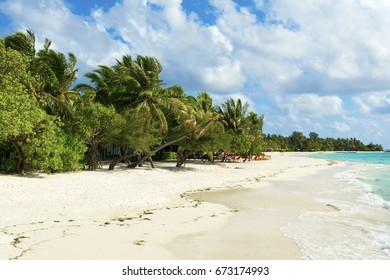 Beautiful cloudy panoramic landscape of sandy beach in Indian ocean, Maldives