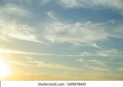 beautiful cloudy sky, yellow blue clouds background