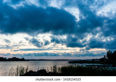 Beautiful cloudy sunset over Baltic sea, Vaasa, Finland