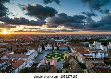 Beautiful cloudy sunset over Union Square - Piata Unirii Timisoara. Aerial view from Timisoara taken by a professional drone