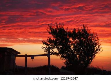 Beautiful cloudy sunset sky in the village near Taman, Krasnodar Krai, South Russia
