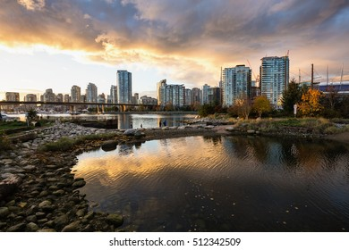 Beautiful cloudy sunset view of Downtown Vancouver, British Columbia, Canada.