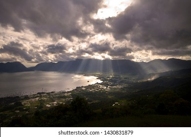 Beautiful cloudy view of Puncak Lawang in West Sumatera, Indonesia. Puncak Lawang is a peak plateau in Agam District. From this place, we can see the Maninjau Lake.