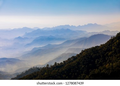 Beautiful clounds and fog coverage multiple mountains valley in the morning at at Doi Ang Khang, Chiang Mai Province, Thailand