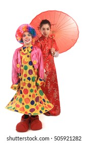 beautiful clown and chinese girl