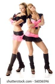 beautiful club girls posing on white background