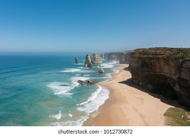 Beautiful coast along Great Ocean Road, Victoria, Australia. Natural landscape view, some famous attractions including Twelve Apostles, Loch Ard, The Arch, London Bridge, The Grotto.
