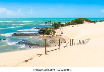 A beautiful coast at Dunes of Genipabu in Natal, Brazil