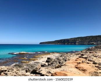 Beautiful coast Formentera Balearic Island