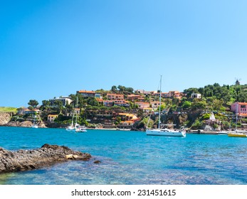 Beautiful coast of the French Riviera with port-town of Collioure