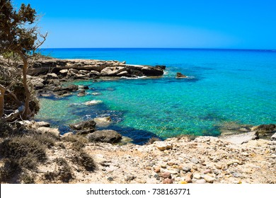 Beautiful coast in Greece Kos, turquoise water and blue sky