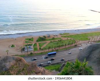 Beautiful coast of Lima, Peru. Pacific Ocean in South America. Coastal avenue.