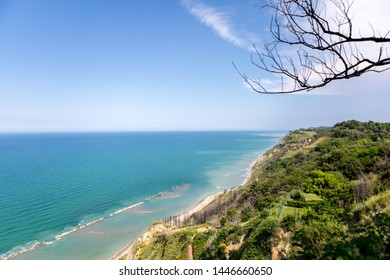Beautiful coast on the Mediterranean sea. View from above with tree branch.