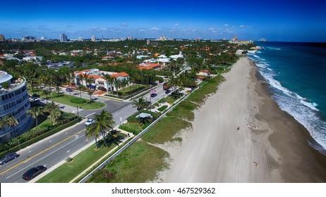 Beautiful coast of Palm Beach, aerial view of Florida.