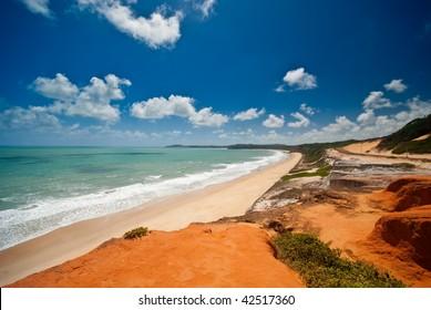 The beautiful coast at Ponta do Madeiro near Tibau do Sul and Pipa Brazil