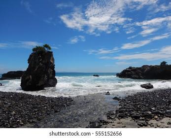 Beautiful coast and rough sea Yakushima world heritage site. kagoshima prefecture, japan.