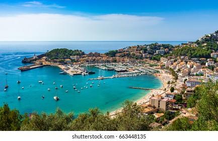 Beautiful coast scenery, bay of Port de Soller, Majorca island, Mediterranean Sea Spain.
