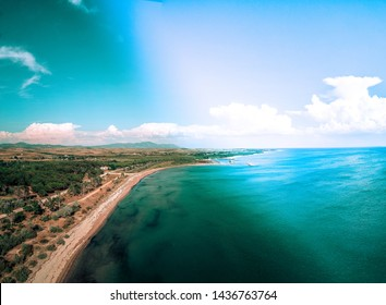 beautiful coast and sky aerial view
