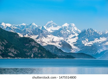 Beautiful coast view of Alaska with snowy mountains in the Summer