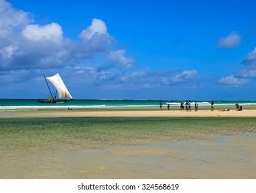 The beautiful coast with white sand Diani Beach in Kenya