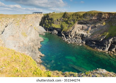 Beautiful coastal inlet turquoise blue sea Pepper Cove between Treyarnon and Porthcothan from the south west coast