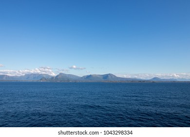 Beautiful coastal landscape between Kristiansund and Molde in More og Romsdal county in Norway.
