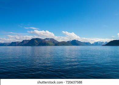Beautiful coastal landscape outside the village of Oksfjord in Loppa municipality in Finnmark county, Norway.