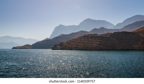 Beautiful coastal scenery near Khasab, in Musandam peninsula, Oman, photo taken from a boat during a tour