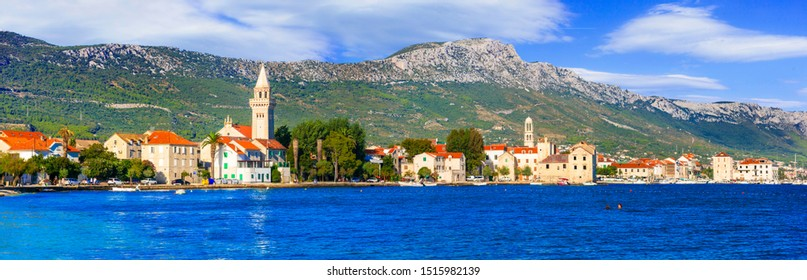Beautiful coastal towns in Croatia. Scenic Kastella in Dalmatia. View of Kastel Stafilic village