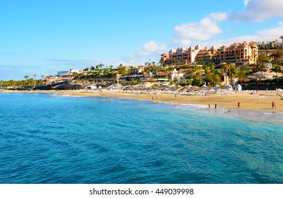 Beautiful coastal view of El Duque beach in Costa Adeje,Tenerife,Canary Islands,Spain.