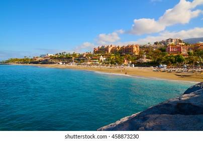 Beautiful coastal view of El Duque beach in Costa Adeje,Tenerife,Canary Islands,Spain.