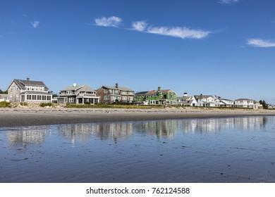 beautiful coastline with beach in Rye, New Hampshire, USA
