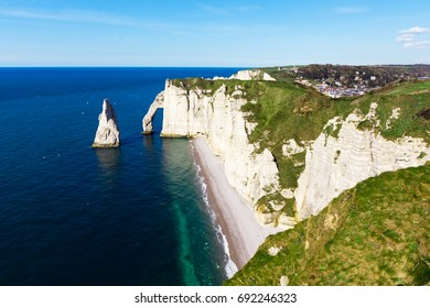 Beautiful coastline and chalk cliffs in Etretat, Normandy, France, Europe