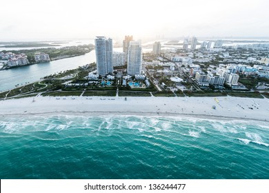 Beautiful coastline of Miami Beach shot from the air