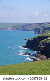 The beautiful coastline next to the fishing village, Port Isaac in the northern part of Cornwall, England