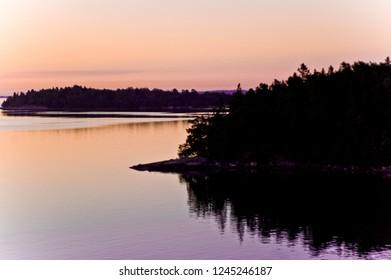 Beautiful Coastline with Pink Sky