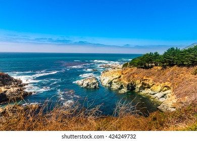 Beautiful coastline scenery on Pacific Coast Highway #1 at the US West Coast traveling south to Los Angeles, Big Sur Area, California
