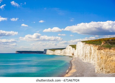 Beautiful Coastline of The Seven Sister Chalk Cliff, East Sussex, Eastbourne , England, United Kingdom
