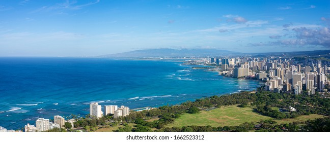 Beautiful coastline skyline of Honolulu, Oahu from the Diamond Head crater. View of the sea.