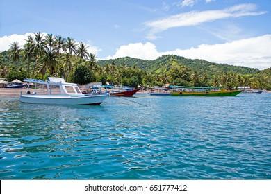 Beautiful coastline at tropical Gili Trawangan in Indonesia
