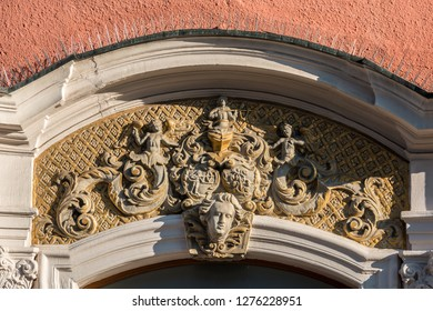 Beautiful coat of arms on a historical old building
