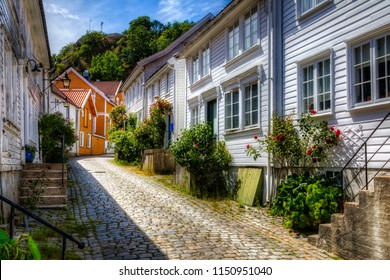 Beautiful Cobbled Street in the Southern Norwegian Town Mandal