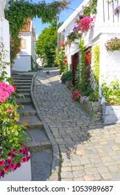 Beautiful cobblestone street of Stavanger Norway