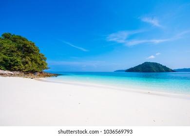 Beautiful Cock Burn Island on sunny day in Myanmar, seascape