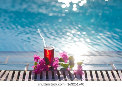 beautiful cocktail on the pool
