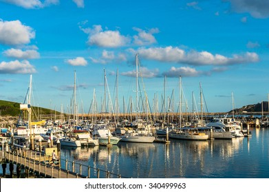 Beautiful Coffs Harbour marina view, sailboats, yachts and motorboats