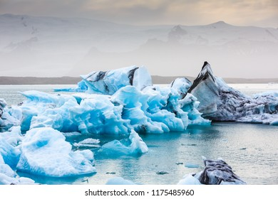 Beautiful cold Jokulsarlon lagoon landscape, Iceland