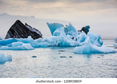 Beautiful cold Jokulsarlon lagoon landscape, Iceland